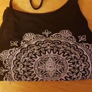 Unlisted Tops - NEW Casual Halter Tank Crop Top Black Medallion